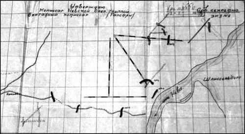 Схема огневых валов (фрагмент), выполненных и проектировавшихся на участке Невской оперативной группы, на 6 июля 1942 г.