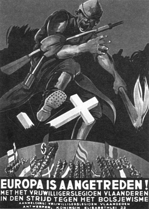 Немецкий плакат для Бельгии «Европа готова. Вступайте во фламандский легион» Художник Кладиус 1943 г.