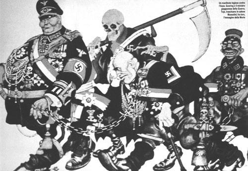 «Равноправные» партнёры. Муссолини на аркане у Геринга Британская карикатура. 1940 г.