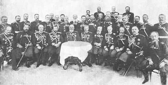 К 25-летию покорения Хивы.  Главные участники Хивинского похода 1873 г. Фото К. Булла