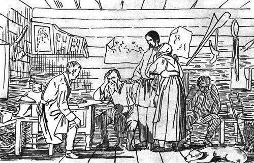 Весть о рекрутском наборе Литография с картины В.И. Бочина, 1860-е гг.