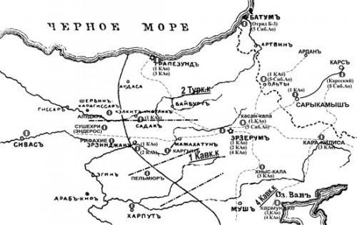 Расположение российских и турецких аэродромов на Турецком ТВД в 1916—1917 гг.