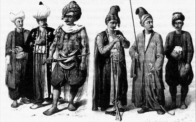 Воины турецкой армии (слева направо): янычар, капитан, моряк, конный артиллерист, капитан инфантерии, артиллерист По реконструкции Б. Бруна