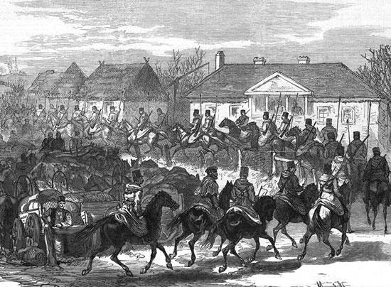 Казаки входят в освобождённый болгарский город