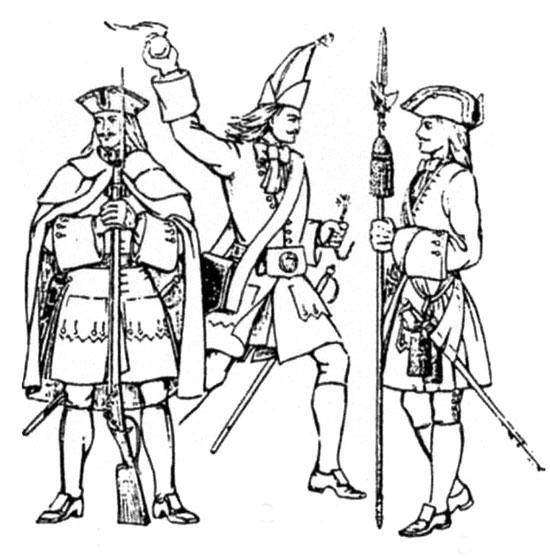 Русские морские пехотинцы (фузилёр, гренадер, штаб-офицер) Первая четверть XVIII в.