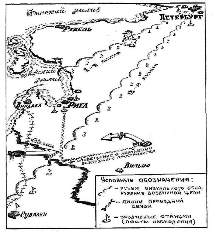 Схема проекта организации воздушной обороны Санкт-Петербургского и Виленского военных округов Весна 1914 г.