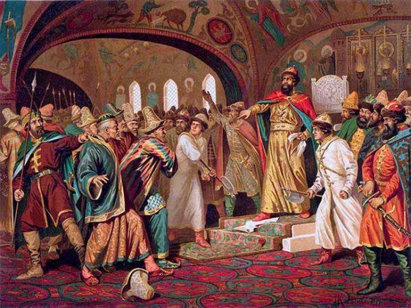 Иван III топчет послание хана Художник А. Кившенко