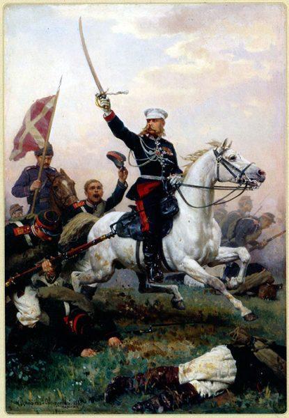 Генерал М.Д. Скобелев на коне. Художник Н.Д. Дмитриев-Оренбургский, 1883 г.