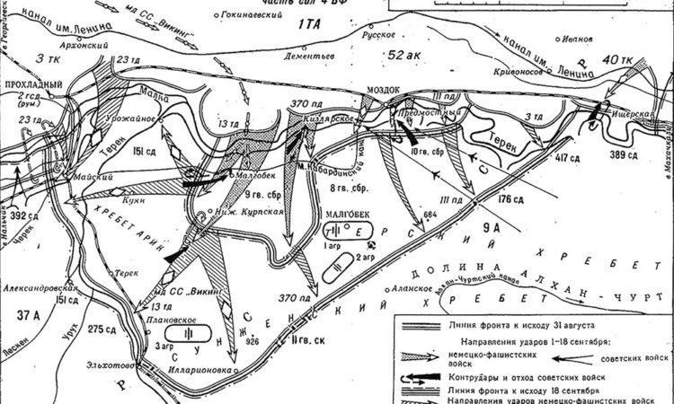 Схема Моздок-Малгобекской оборонительной операции (сентябрь 1942 г.)