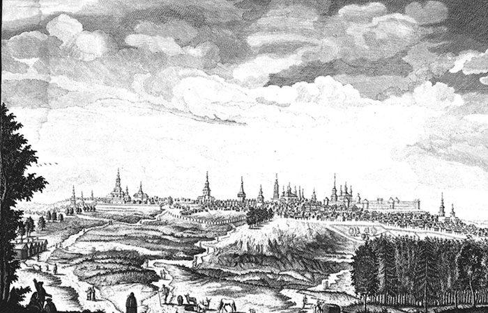 Вид города Симбирска с приезда к северо-западу.Гравюра М.И. Махаева по рисункам А.И. Свечина. 1769 г.