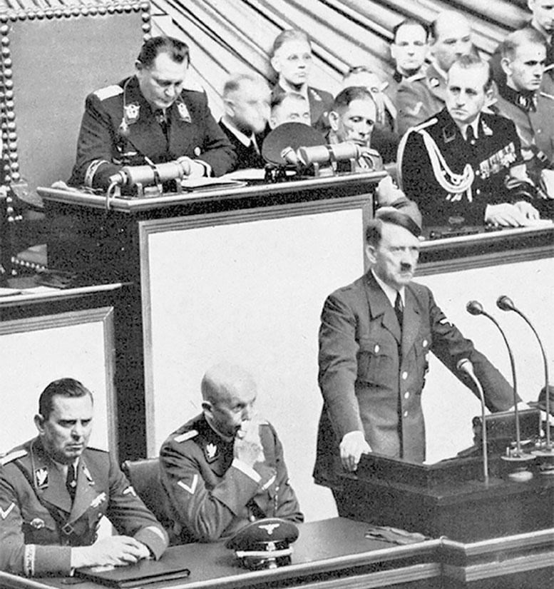 Гитлер объявляет войну Польше на заседании рейхстага. Берлин, 1 сентября 1939 г.