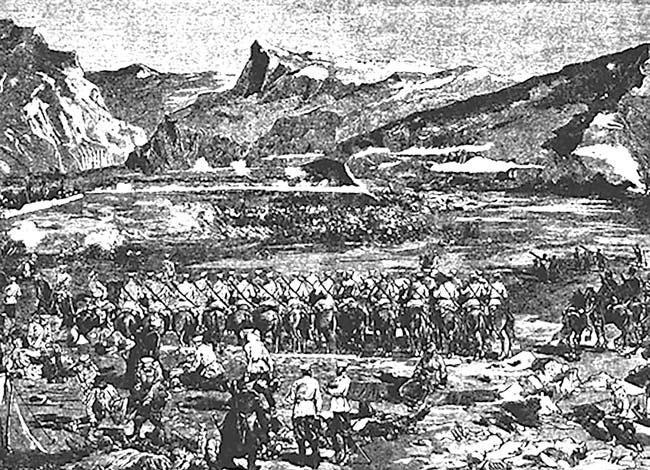 Русские войска у крепости Геок-Тепе. Рисунок Н.Н. Каразина