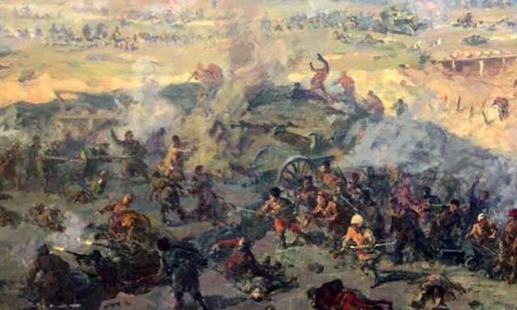 Фрагмент эскиза «Бой у Ишуньских позиций»