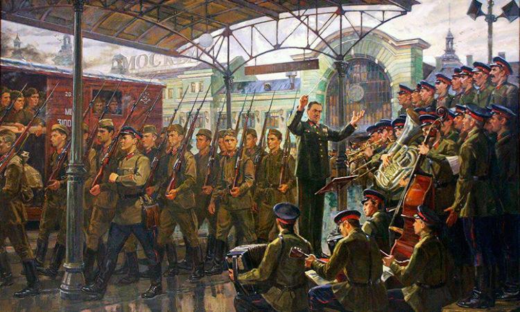 Ансамбль Александрова на Белорусском вокзале, 26 июня 1941 г. Художник Д. Ананьев, 2008 г.