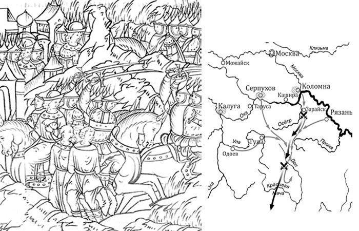 Захват татарских «языков» в бою под Зарайском. Отступление крымского войска.