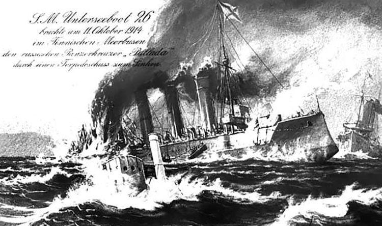 Потопление броненосного крейсера «Паллада» подводной лодкой «U-26» 11 октября 1914 г.