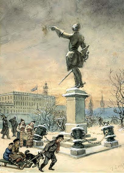 У статуи Карла XII. Художник Фриц фон Дардель, 1889 г.